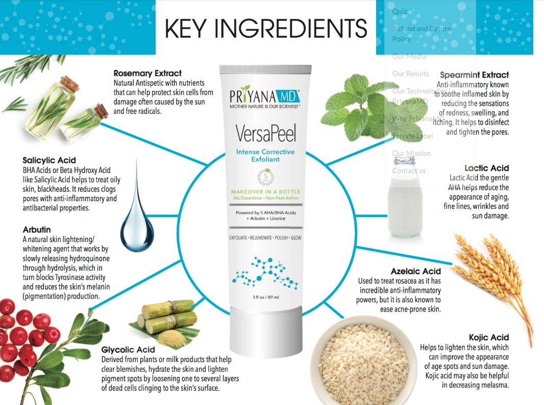 Versapeel Key Ingredients